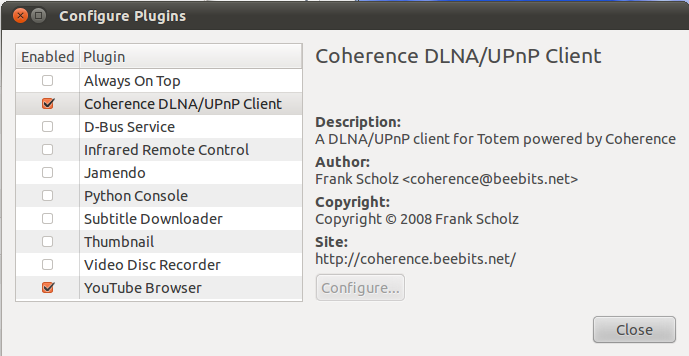 Configuring a DNLA Player Under Ubuntu